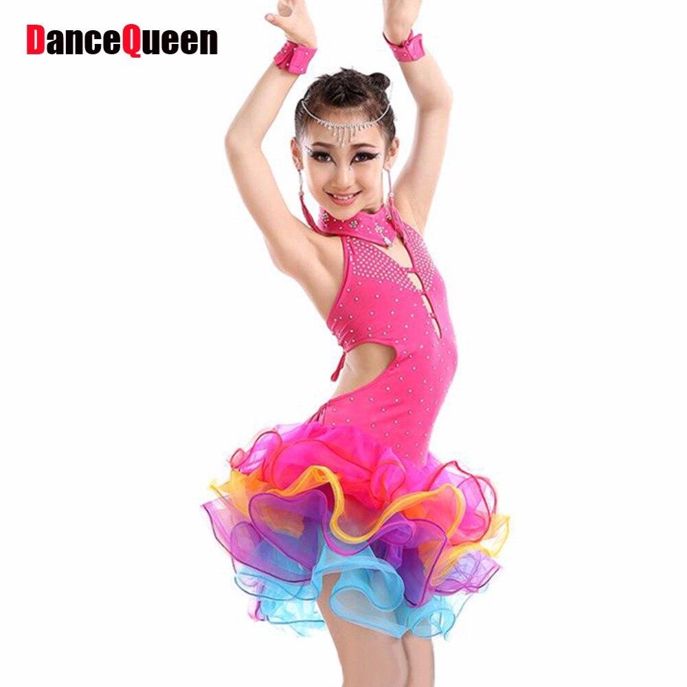 2017 Latin Dress For Girls 4 шт. (Dress & Ожерелье & Серьги & Браслет) Дети Бальные Dress Детская Одежда для танцев Salsa Dancing Dress