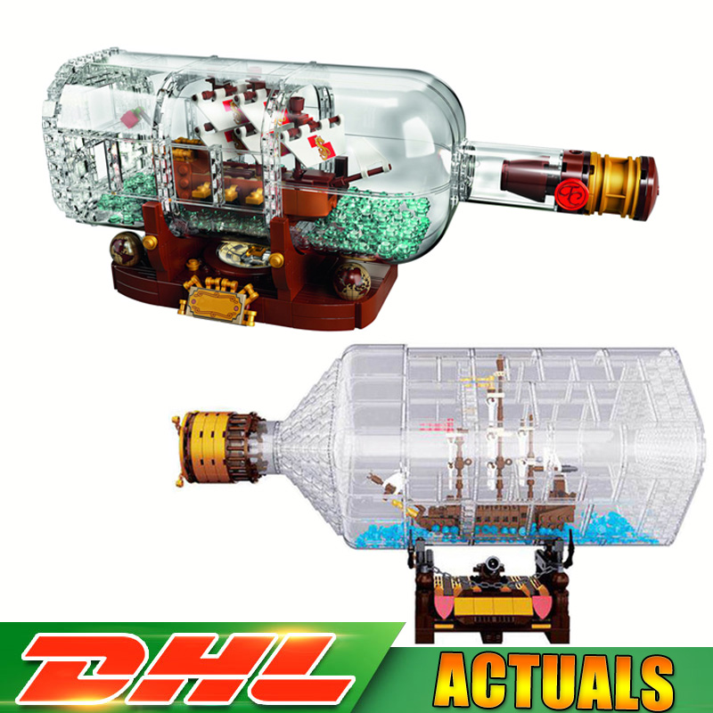 LEPIN 16051 1078pcs +16045 775 Pcs Pirates of The Caribbean Ship In Bottle Bricks Blocks Toys Compatible LegoINGlys 4184 21313 lepin 16051 1078pcs movie series the 21313 pirate ship in a bottle set building blocks bricks toys birthday gifts
