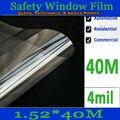 1.52meter-40 metro-4MILS-100 micras de película de la ventana de Seguridad de película de protección