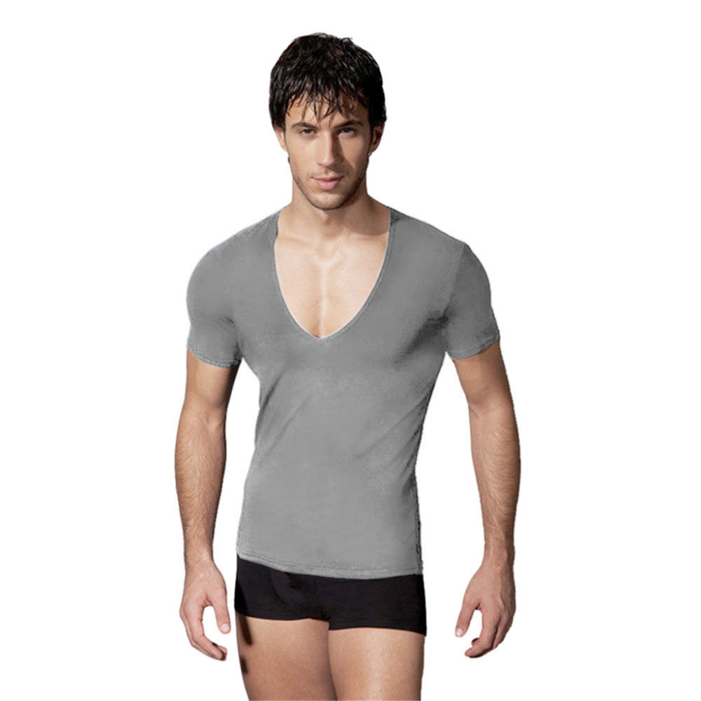 b1bf6236b675 Uwback2017 Summer Fashion Elasticity Sexy Men Deep V Neck T Shirt Tee Silm  Shirts Fitness Cool Top Clothes undershirt 2XL CAA293-in T-Shirts from Men's  ...