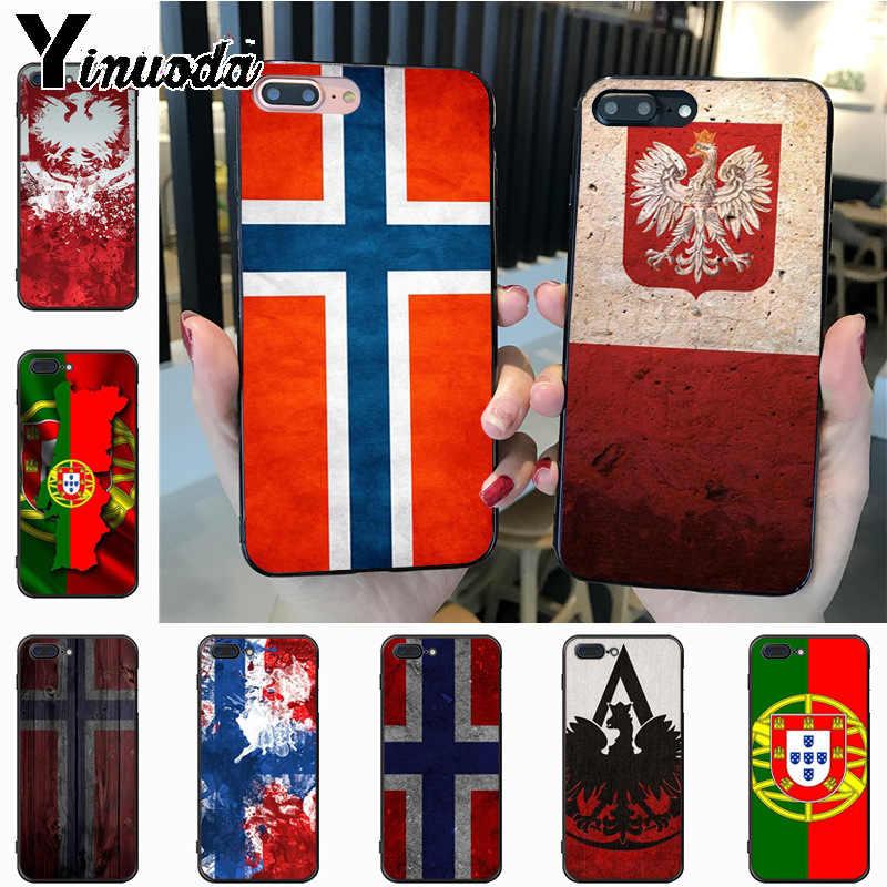 Yinuoda noruega polónia portugal luxo híbrido caso de telefone para iphone 7plus 6 s 7 8 plus x 5S 11pro caso capa