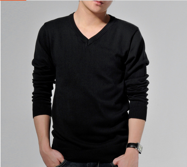 Spring And Summer 100% Cotton Sweater Man Casual Wear V Neck Long ...