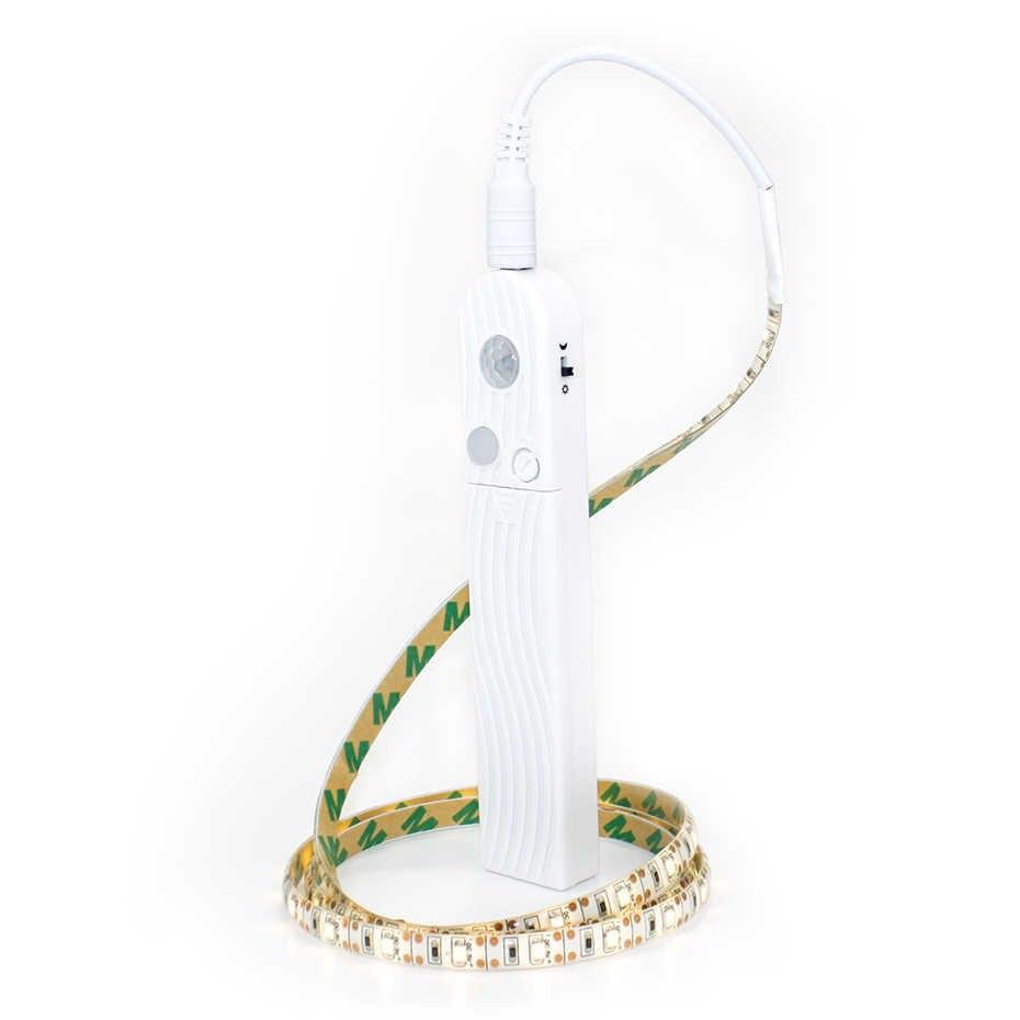 DC 5V1m 2m 3m движения PIR Сенсор светодиодный свет лента Батарея или USB с питанием от порта обнаружения движения шкаф лампа шкаф Кухня A1