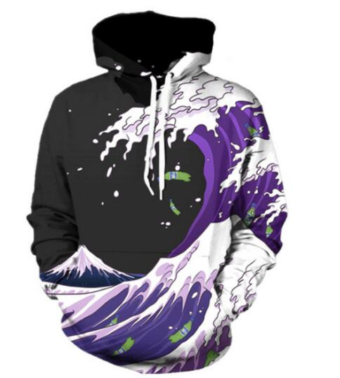Raisevern New Fashion Hoodie 3D Print Waves of Purple Sprite Sweatshirt Long Sleeve Hooded Tops For Men Women Plus Size Dropship