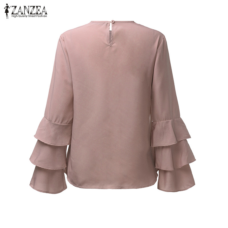 HTB1KNq.OVXXXXXKaXXXq6xXFXXXz - Women Blouses Shirt Elegant Ladies O Neck Long Flare Sleeve