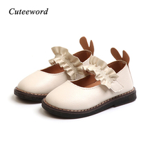 Baby Toddler Girls Shoes Leather Dance Spring Autumn Fashion Lace Cute Rabbit Ear Kids Soft Flats White Pink