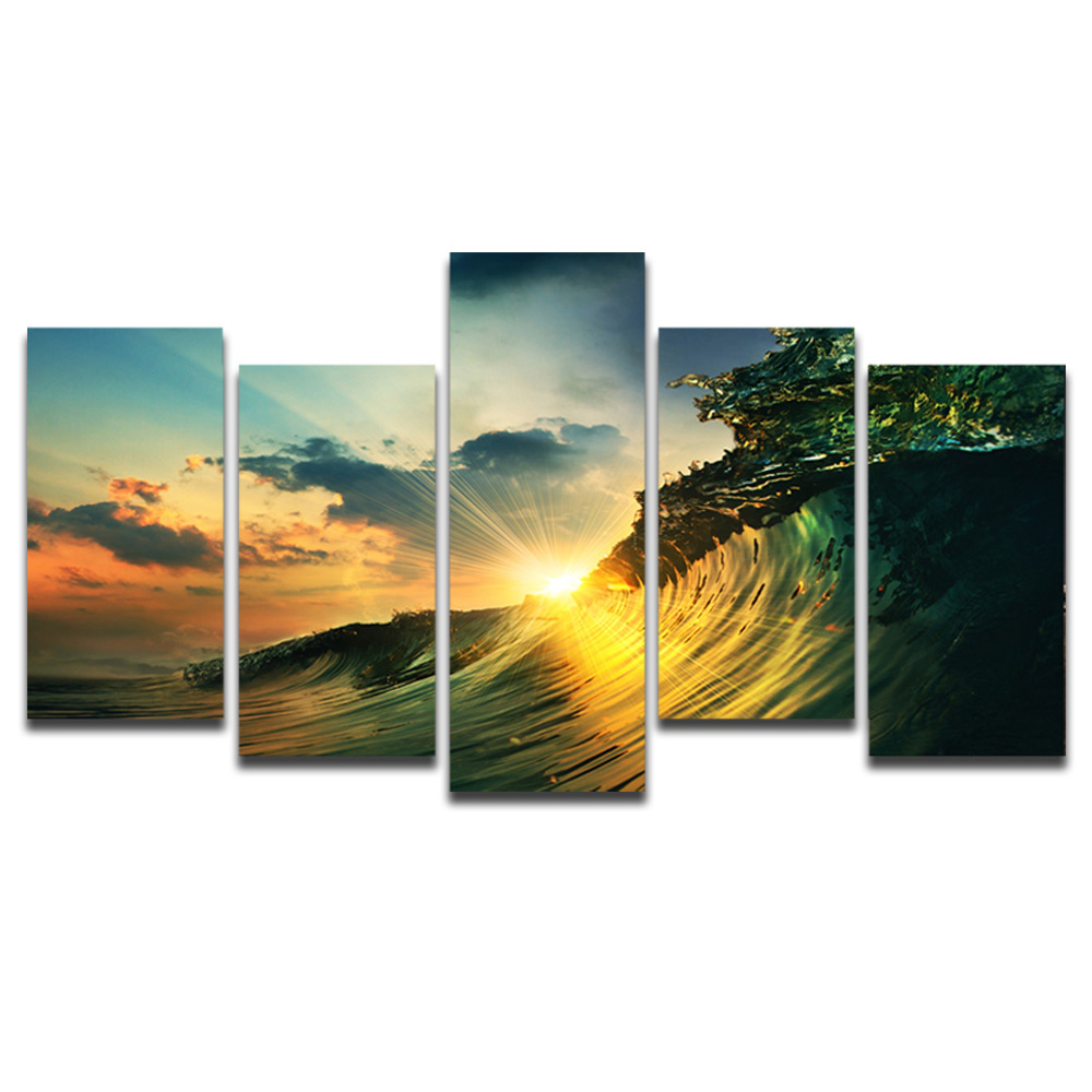 Unframed Canvas Painting Sunlight Waves Photo Picture Prints Wall Picture For Living Room Wall Art Decoration Dropshipping