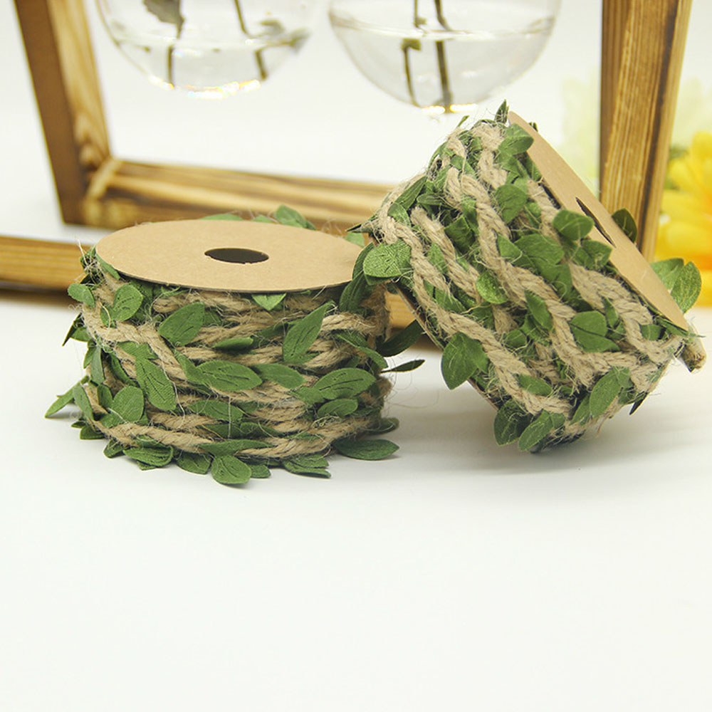 5meters/roll DIY Artificial Leaves Twine String With Leaf Silk Leaves Flower Garlands Home Garden Wedding Party Decoration