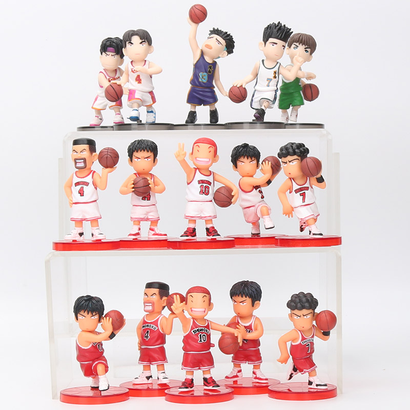 8cm 5pcs/set Slam Dunk action Figures Japanese Anime Figure Basketball Toys Sakuragi Hanamichi Pvc Cartoon Figure Kid Gift 6pcs set disney toys for kids birthday xmas gift cartoon action figures frozen anime fashion figures juguetes anime models
