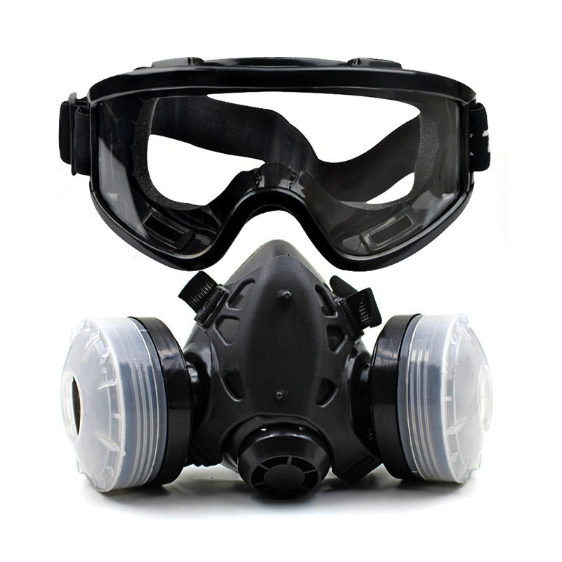 Half Face Gas Mask With Dual Cartridge Dust Mask With Eye Goggle Anti-Chemical Filter Face Respirator For Spray