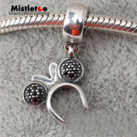 925 Sterling Silver Original Minnie Headband Silver Dangle With Black Crystal Red And Clear Cubic Zirconia