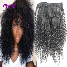 Kinky Curly Clip in Human Hair extension 10pcs 100g/set Natural Remy Brazilian Virgin Hair Clip In Weave Extension