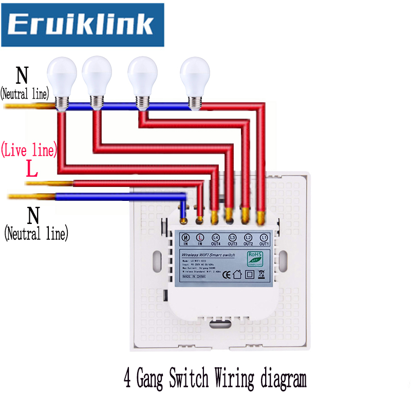 EU UK Standard eWelink APP Remote Control Light Switch 1 2 3 4 Gang 1 Way Smart Home WiFi Wall Touch Switch in Switches from Lights Lighting