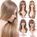 Streak Dark Brown Blonde Long Wig Women Ladies Stylish Cosplay Party Daily Full Wigs Sexy Curly Wavy Natural Dress