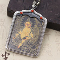 S925 Sterling Silver Jewelry Thai Silver Hand-painted Thang-ga Pendant Transfer Lucky Pendant Yellow God Wealth Pendant