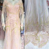 New Nigeria Lace Fabric 2018 High Quality Lace 3D Embroidered French Beaded Tulle Lace Hot Sale French African Lace Fabric F57 1