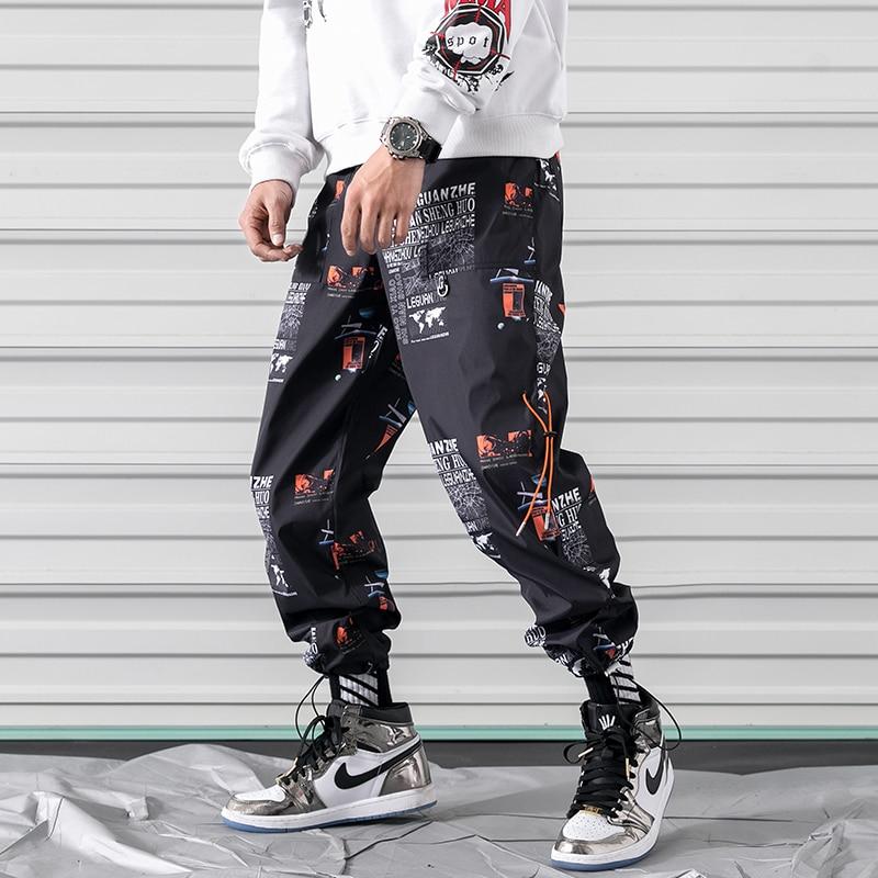 Herrlich Hüfte Hüfte Streetwear Männer Gedruckt Jogger Hosen Lose Atmungs Casual Jogginghose Männliche Hosen Elastische Taille Harem Hosen Männer
