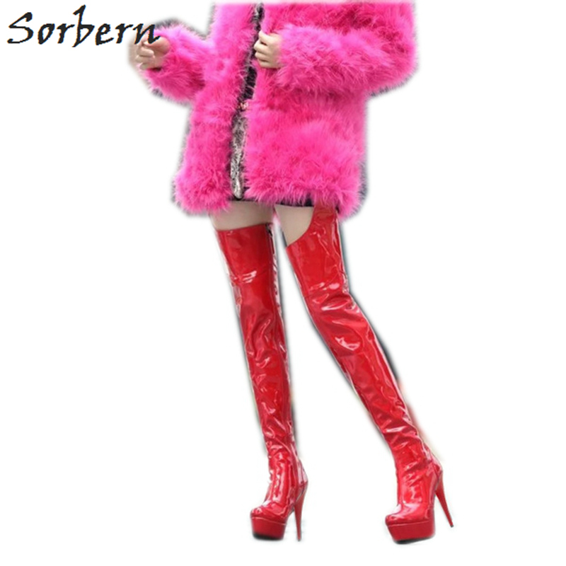 Sorbern Red Thigh High Boots With Belt Black Booties Shoes Woman Size 10 Womens Fall Boots