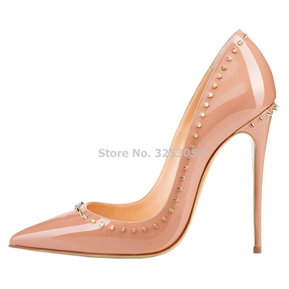 811df58285fb ALMUDENA Charming Gold Rivets High Heel Pumps Nude Black Patent Leather  Embellished Studded Nightclub Shoes Real