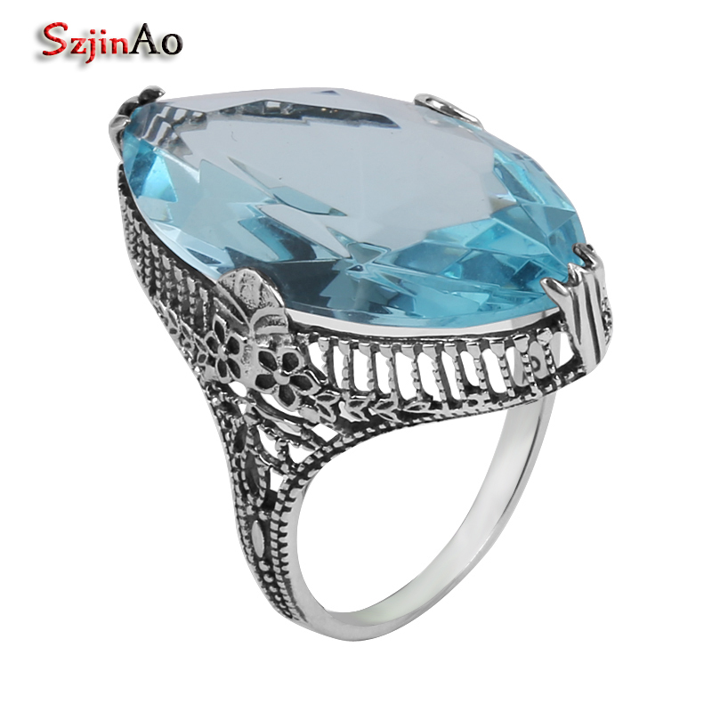 Szjinao Fine jewelry wholesale processing silver jewelry fashion carving blue aquamarine women 925 sterling silver ring