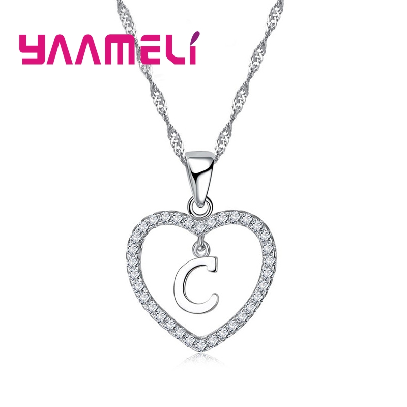 Romantic Heart Design 26 Letters Necklace Pendant Super Shiny Cubic Zirconia 925 Sterling Silver For Women Girls Gift 2