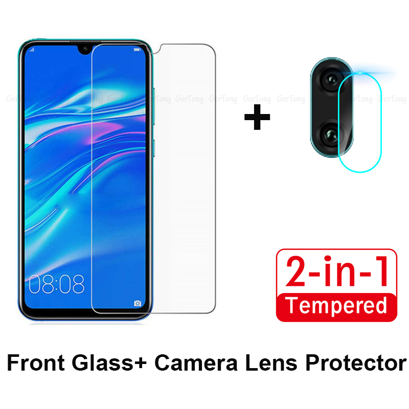 2 In 1 Ultra Thin Clear Glass For Huawei Y6 Y7 2019 Camera Lens Film Tempered For Huawei Y7 Y6 Pro 2019 Screen Protector Guard