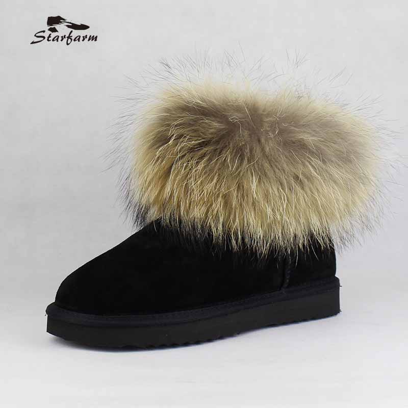 STARFARM 2017 Winter Fur Snow Women Boots For Woman Shoes Cow Genuine Leather Platform Warm Plush Warm  Ankle Australian Boots mance women men unisex watches gold stainless steel quartz wrist watch skull pirate quality relogio time clock 2016 hot sale