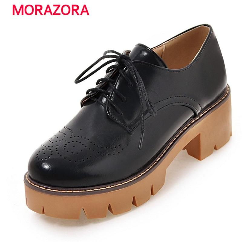 ФОТО MORAZORA 2017 Brogue shoes lace-up round toe platform shoes woman pumps big size 33-43 fashion high heels shoes