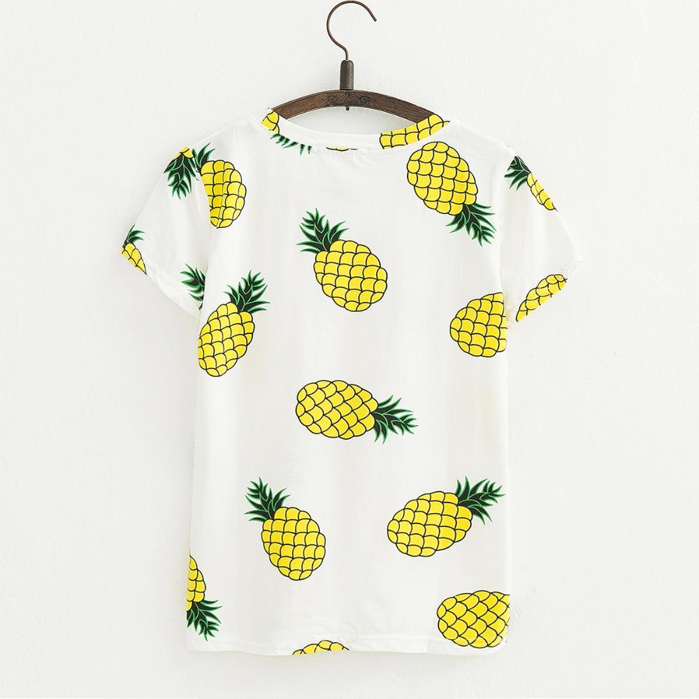 JKKUCOCO Hot Style Pineapple Print Tees Short Sleeve T-shirt Women t shirt Summer Cotton t-shirt Women Tops Causal t-shirts 13