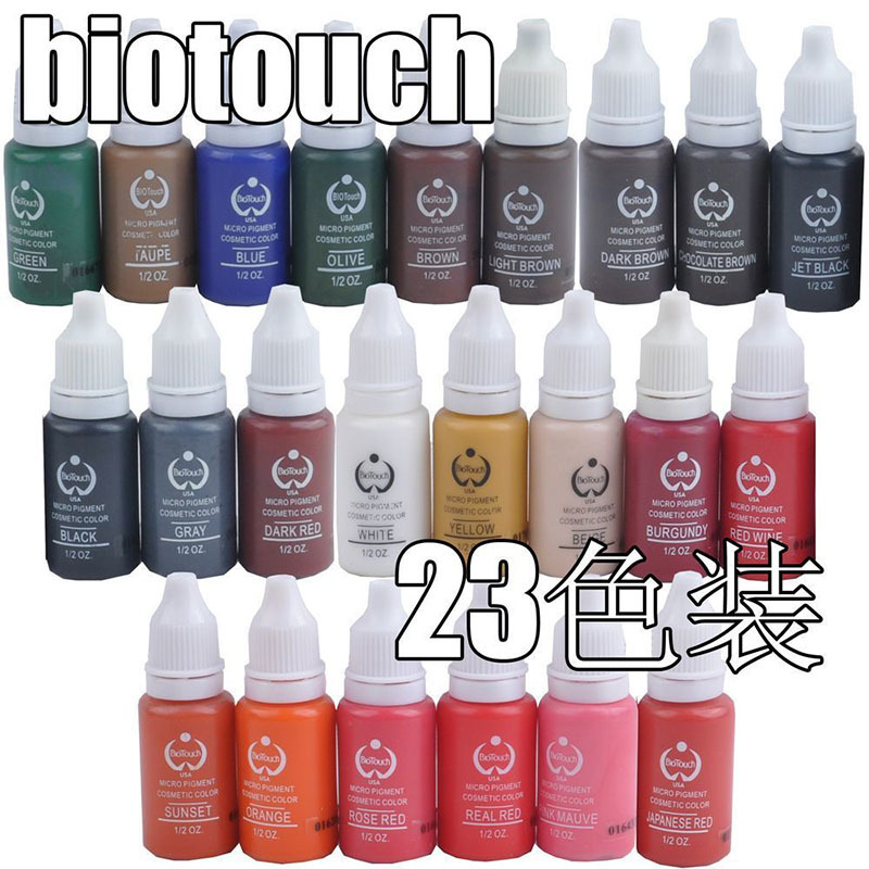 permanent Makeup tattoo ink pigment 15ml / bottle for eyebrow make up 23 colors Free shipping