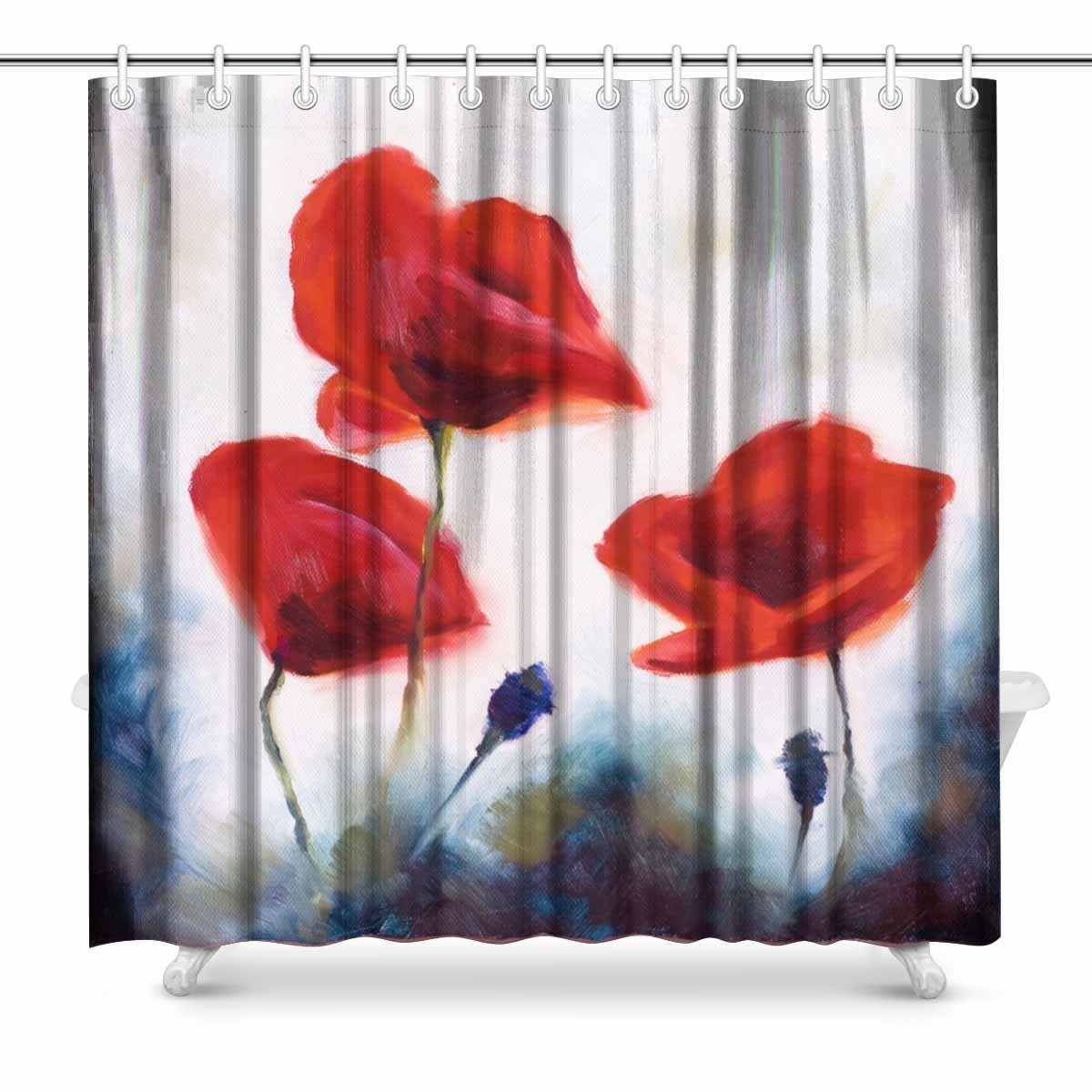 Aplysia Blossoming Poppy And Poppy Buds Drawns Art Bathroom Decor Shower Curtain With Hooks 72 X 72 Inches