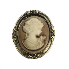 1pc queen Lady Vintage Vittoriano Design Cameo Smalto Nero Bronze Spilla Spille(China)