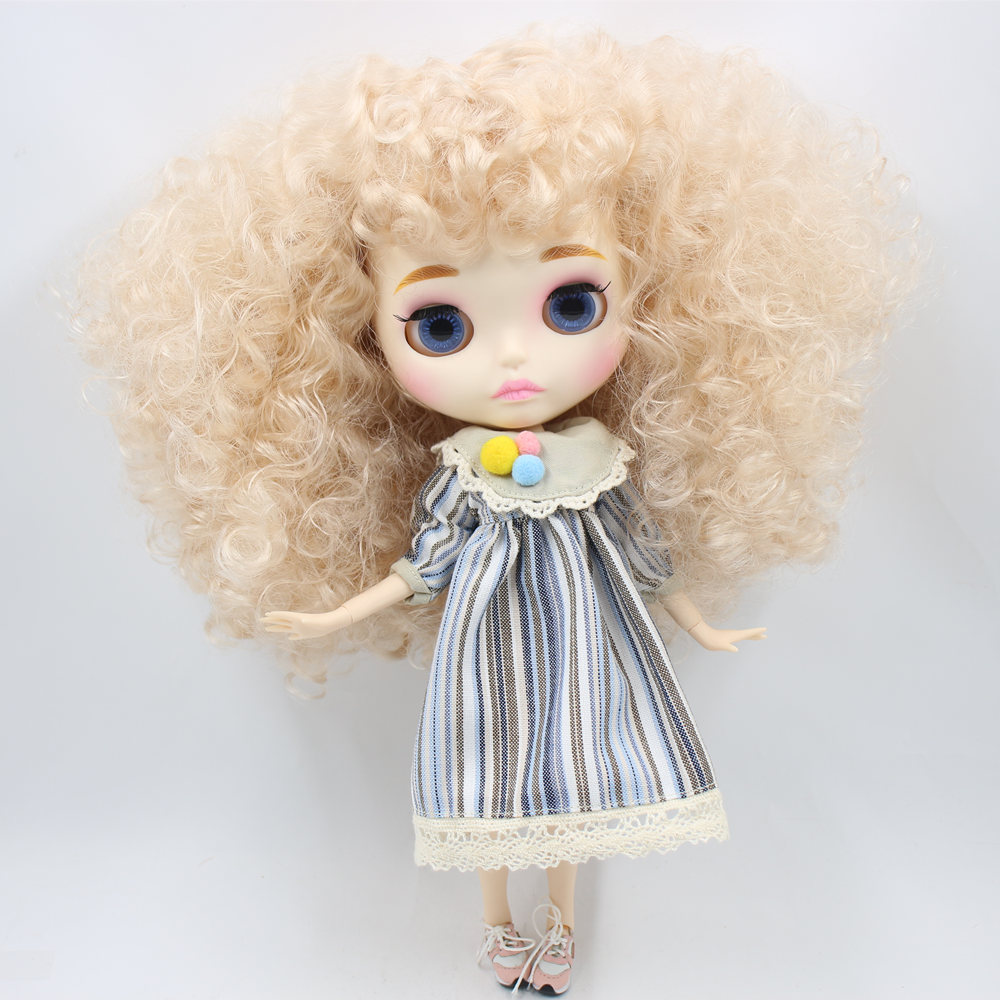 ICY Nude Blyth Doll For Series No BL3139 Blonde afro hair Carved lips Matte face with