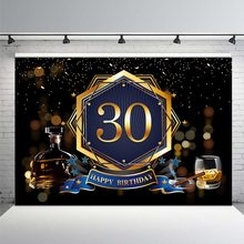 Happy 30th Birthday Golden Champagne Cigarette Celebration Ribbon Scenic Photo Backgrounds Photography Backdrops Photo Studio(China)