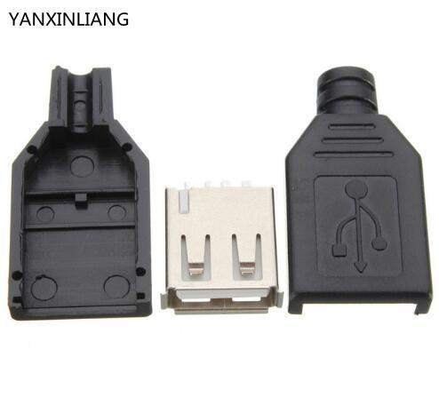 10Pcs Type A Female USB 4 Pin Plug Socket Jack Connector Plug Socket with Black Plastic Cover Seat Welding Wire Adapeter 5set 3pin female panel powercon stage light power plug and socket audio connector plug socket 20a 250v nac3fca with nac3mpa 1
