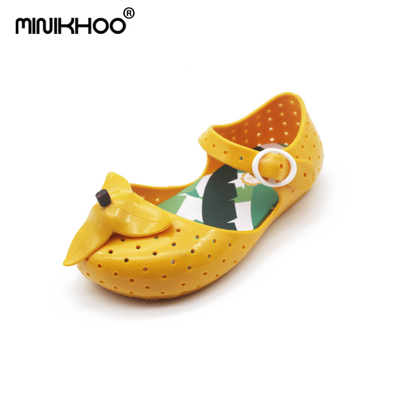 Mini Melissa 2018 New FURADINHA IX Banana Jelly Sandals For Children Shoes Jelly Shoes Hollow Children Shoes Anti-Skid EUR24-29