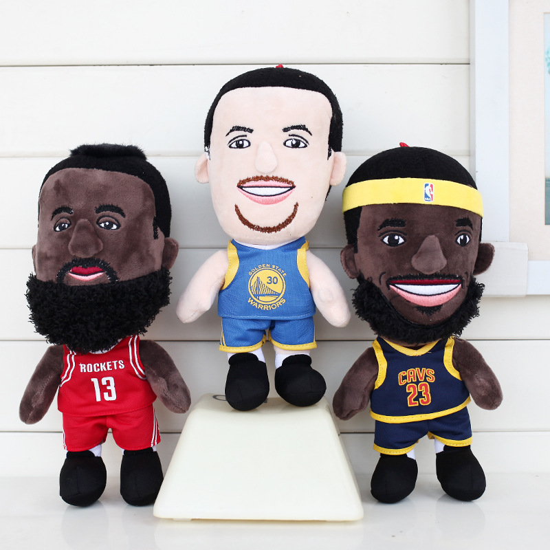 все цены на NBA Figure Doll 26cm Soft Plush Stuffed NBA Characters Kobe James Curry KYRIE JOHN DAMIAN Doll Toys for Kids