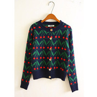 2015 Autumn Cherry Preppy Style Cardigans Sweater Vintage Fashion Small Fresh Casual Women Sweater Outerwear
