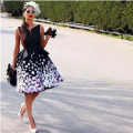 Glamorous Black  Curve V Neck Colorful Flowers Peplum Mini Length Cocktail Dresses
