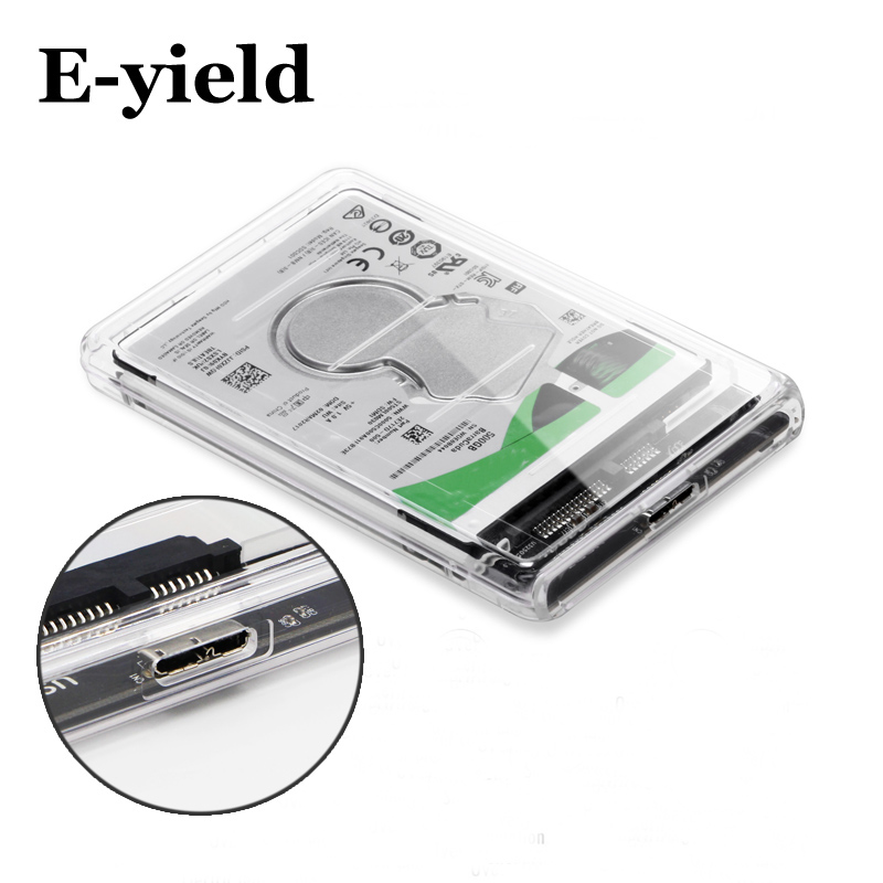 2.5 inch Transparent USB3.0 to Sata 3.0 HDD Case Tool Free 5 Gbps Support 2TB UASP Protocol Hard Drive Enclosure