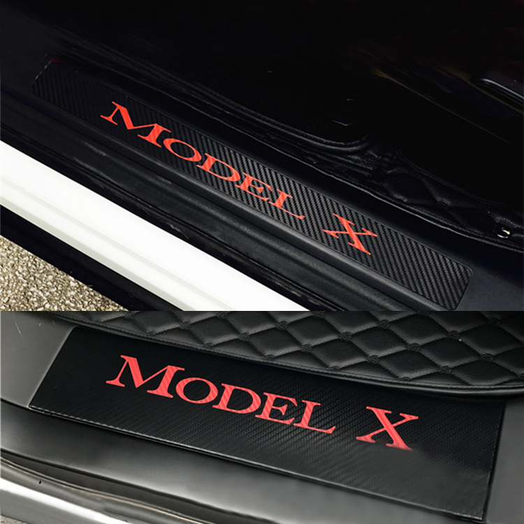 4 шт. автомобиль порога приветствуем наклейки педали набор наклейка Стиль Анти-Одежда Защитная украшения аксессуары для Тесла модель X