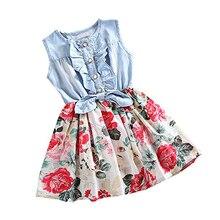 Girls Summer Sleeveless Cotton Dress Floral Print Denim Shirtdress Princess Tutu Dress for Kids Baby Children цена