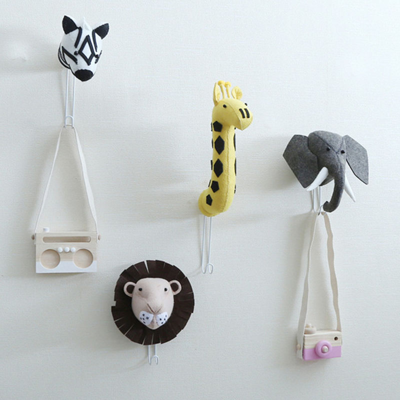 Soft Plush Wall Stuff 3D Animal Zebra Lion Giraffe Hook Stuffed Kids Toy Plush Animal Head Wall Decoration for Children