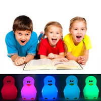 Cute Penguin Night Light Adjustable Colorful LED Desktop Light Silicone USB Charging Lamp Touch Control Atmosphere