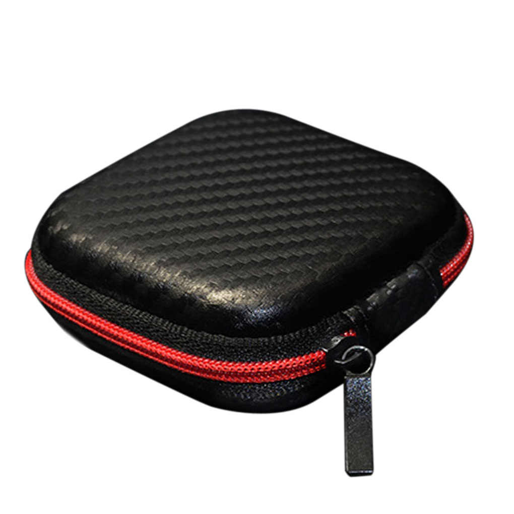 Portable Earphone Hard Case Fiber Zipper Headphone Earphone Earbuds Hard Case Storage Carrying Bag SD Card Box Earphone Bag