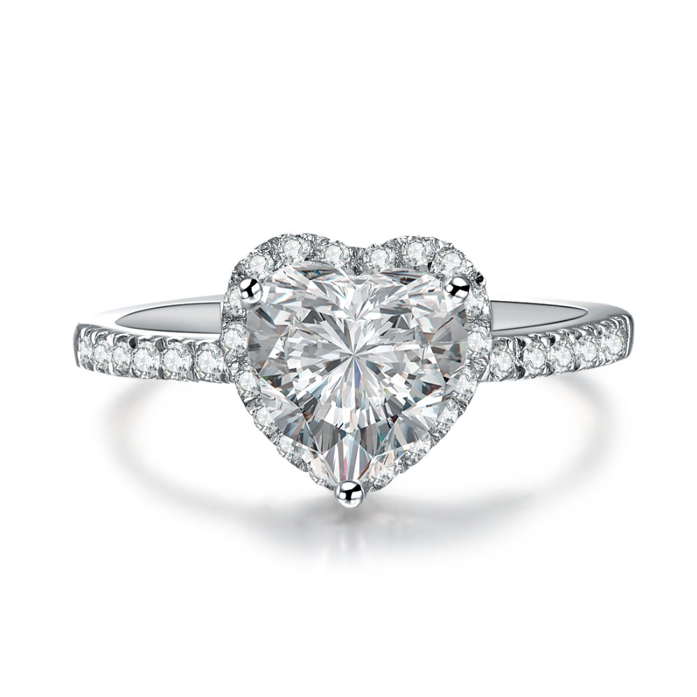 Promotion Sales Jewelry Heart Ring Affordable 2CT Sterling