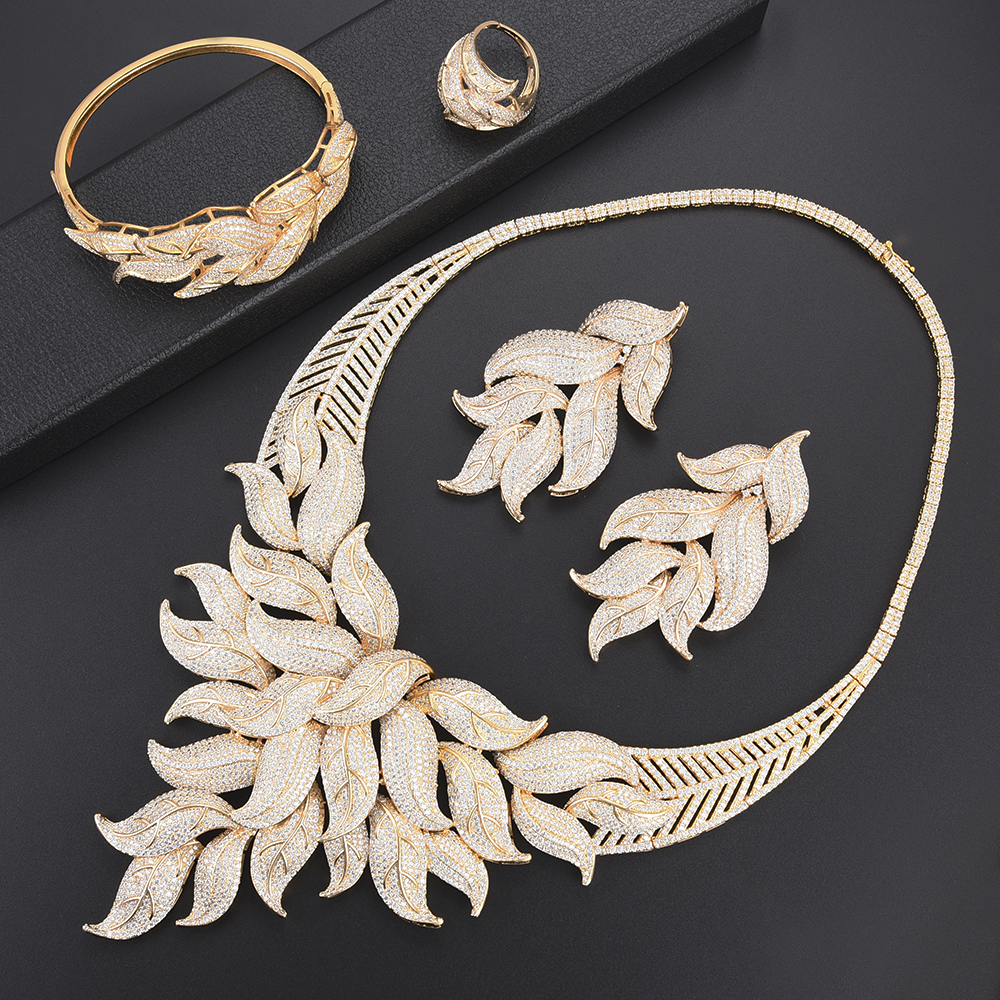 missvikki Trendy Cubic Zirconia Noble Symbol Gorgeous Fox's Tail Jewelry Set for Women Bridal Wedding Engagement Jewelry Set