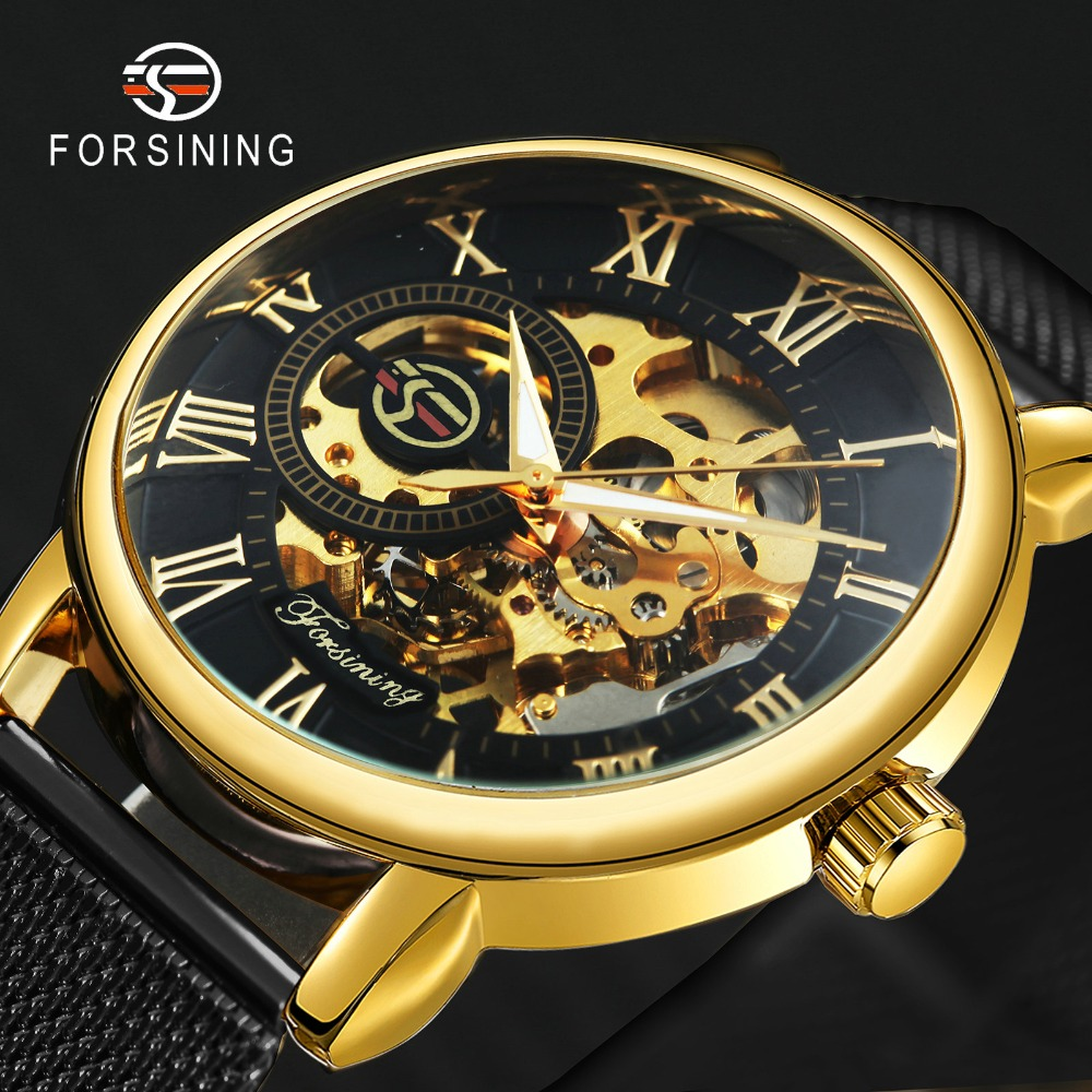 Mechanical Watches Oulm Classic Golden Skeleton Mechanical Watch Men Genuine Leather Strap Top Brand Luxury Man Watch Vip Drop Shipping Wholesale