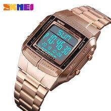 SKMEI Мужская Мода Спорт на открытом воздухе Наручные часы роскошные золотые Площади Цифровые Часы Нержавеющаясталь военные часы Relojes Hombre