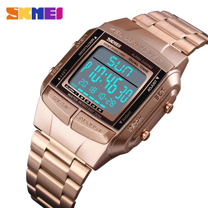 Herrenuhren Digitale Uhren Offen Skmei Männer Fashion Outdoor Sport Armbanduhren Luxus Gold Quadrat Digitale Uhren Edelstahl Military Watch Uhren Hombre